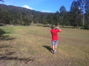 The first ball struck at the Golf Farm